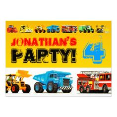 Big Trucks 4th Birthday Party Custom Invites
