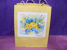 Paper Gift Bag   Watercolor  Yellow Sunbursts by TheGiftoftheGAB, $5.00