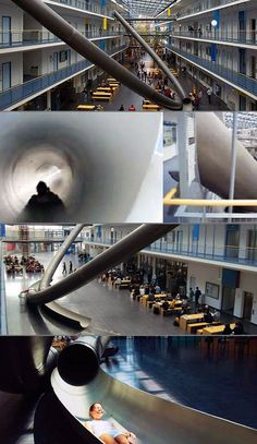 Awesome university in Munich, Germany has a slide for students to get from the third floor to the first floor in a jiffy.