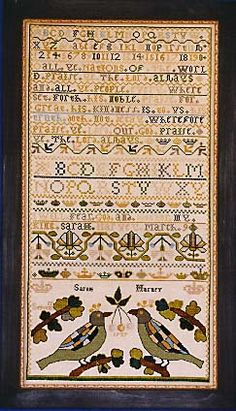 Sarah Harvey...just beautiful.  I would love to know how old Sarah was when she worked this sampler.