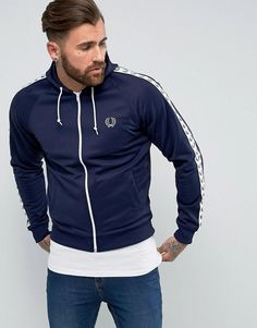Fred Perry Sports Authentic Hooded Taped Track Jacket in Navy - Navy
