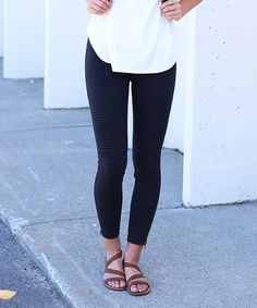 Another great find on #zulily! Black Texture-Front Zip-Leg Leggings #zulilyfinds