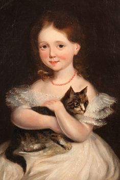OIL ON CANVAS - American 1850s Portrait of American Little Girl holding her tabby Cat with crossed arms. Unsigned.