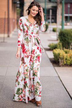To The Reception Floral Wrap Maxi Dress (Peach)  #summerfashion #floral #maxi