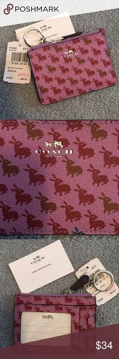 🎉Price Drop🎉 NWT Coach bunny print ID holder Great ID holder - in adorable bunny print leather. Perfect for keeping a gym, bus or office pass. Stylish leather with view window behind.  Smoke free home; open to reasonable offers Coach Accessories Key & Card Holders