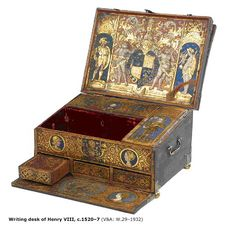 Writing box, ca. 1525 (made). Writing desk constructed of oak and walnut, decorated with painted and gilded leather. British, 1525 - The decoration painted by Lucas Hornebolte. Museum Number to Historical Artifacts, Ancient Artifacts, Historical Photos, Tudor History, British History, Asian History, Interior Bohemio, Art Du Monde, Tudor Dynasty