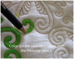 Inktense Pencil fabric coloring tutorial. Use fabric medium to ensure the color does not wash out. GAC 900 is matte finish; Liquitex has some gloss. Dry clean at room temperature. myb