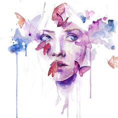 New post on violetvio Art And Illustration, Agnes Cecile, Butterfly Drawing, Art Sketchbook, Portrait Art, Oeuvre D'art, Watercolor Paintings, Watercolour, Art Lessons