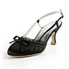 zapatillas abiertas del talón de satén con zapatos bajos de costura de encaje mujeres del banquete de boda Popular - CLP $ 29.746