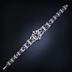Antique Amethyst and Diamond Bracelet - Antique & Vintage Bracelets - Vintage Jewelry Bracelet Antique, Cartier Love Bracelet, Sapphire Bracelet, Pearl Diamond, Diamond Bracelets, Bangle Bracelet, Royal Jewelry, Fine Jewelry, Jewelry Box