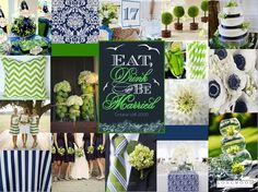 Navy, Green, and White Color Board #weddings #events #nautical www.longwoodevents.com