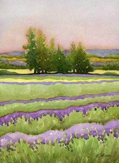 Yarrow & Lavender  Watercolor by Kathy Johnson