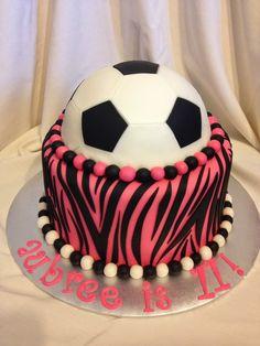 pink zebra soccer cake
