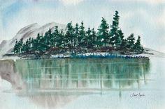 GREAT PINE WATERS  original SantAgata watercolor pine trees lake mountain via Etsy
