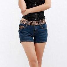 Fashion Leopard Print Low Waist Women Denim Shorts