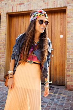 leather jacket and pleated maxi skirt