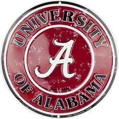 """University of Alabama Crimson Tide Bama Nation 11/"""" Shield Metal Sign Embossed"""
