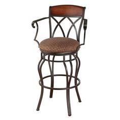 "Callee Hayward 34"" Swivel Bar Stool Frame Finish: Matte Black, Upholstery: Ford Brown"