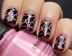 Baby pink & black crackle