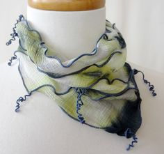 Mojito Mint Hand-Dyed Shibori Silk Georgette  Necklace by DianneKoppischHricko on Etsy
