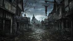 Dark Fantasy Wallpaper from DDarkness. Fantasy World Dark Fantasy Art, Fantasy Anime, Fantasy City, Fantasy Places, Fantasy Village, Fantasy House, Creepy Backgrounds, Halloween Backgrounds, Halloween Wallpaper