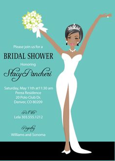 Elegant Bride Bridal Shower Invitations -African American with matching thank you cards