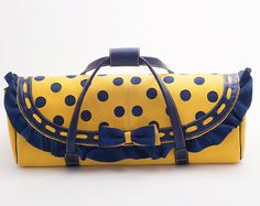 Handmade bag from yellow and blue leather - Handbag or Blythe carrying case #dolls