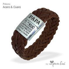 4aa5586474ba Piel trenzada en pulsera con cierre de acero imantado
