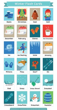 Free printable winter flash cards. Download them in PDF format at http://flashcardfox.com/download/winter-flash-cards/