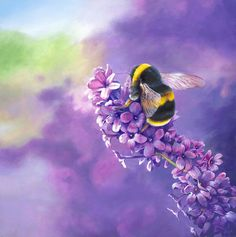 The Constant Gardener - Bumble bee in Southdowns National Park, acrylic painting on board by David Williams. Giclee prints available from  www.southdownsgallery.co.uk