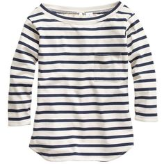 J.Crew Long-sleeve pocket tee in stripe featuring polyvore, fashion, clothing, tops, t-shirts, shirts, j.crew, striped t shirt, long sleeve t shirts, 3/4 sleeve shirts, white shirt and slim fit t shirts