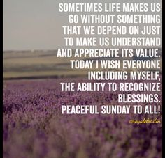 SOMETIMES LIFE MAKES US GO WITHOUT  SOMETHING THAT WE DEPEND ON  JUST TO MAKE US UNDERSTAND  AND APPRECIATE ITS VALUE. TODAY I WISH EVERYONE INCLUDING MYSELF, THE ABILITY TO RECOGNIZE BLESSINGS. PEACEFUL SUNDAY TO ALL!