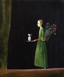 Girl With Flowers - Stefan Caltia