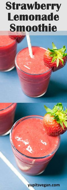 Strawberry Lemonade Smoothies: All of the flavor of fresh strawberry lemonade, minus the added sugar in a healthy, dairy-free smoothie! So refreshing and easy to make.
