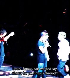 Simon Cowell was at the One Direction show in Las Vegas and so Louis took the opportunity to thank him for all they've collectively been able to achieve as a group, in just the past three years, because of him. gifs