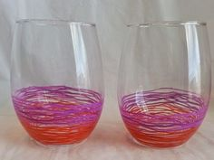 I hand painted these stemless wine glasses.