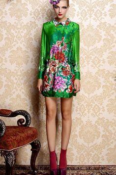 Oasap  Floral Print Green Silk Dress