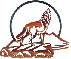 Wolf Howling at Moon Laser Cut Metal Wall Art