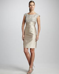 Classy - Lace-Bodice Cocktail Dress by Kay Unger New York at Neiman Marcus.  Perfect for the MoB or MoG.