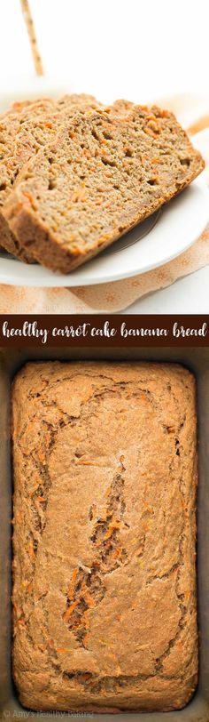 Healthy Carrot Cake Banana Bread -- only 107 calories & SO easy to make! It really does taste like you're eating carrot cake for breakfast! Banana Recipes Easy Healthy, Healthy Carrot Cakes, Healthy Banana Bread, Carrot Recipes, Banana Bread Recipes, Healthy Baking, Healthy Breads, Potato Recipes, Vegetable Recipes