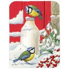 Caroline's Treasures Eurasian Blue Tits Birds and Milk Bottles Glass Cutting Board