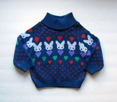 Vintage Knit Sweater Toddler Bunny Rabbit Hearts Winter Top 70s Unisex Boy Girl Kids Turtleneck 18M Baby