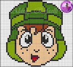 ENCANTOS EM PONTO CRUZ: A Turma do Chaves Cross Stitch Designs, Cross Stitch Patterns, Cross Stitching, Cross Stitch Embroidery, Pixel Art Templates, Iron Beads, C2c Crochet, Perler Patterns, Plastic Canvas Patterns