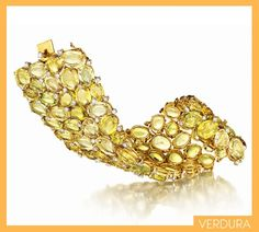 Verdura Riviera bracelet, with yellow beryl, gold, and diamond, price upon request  Verdura NY