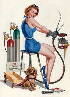 Love vintage Pin-up girls with dogs