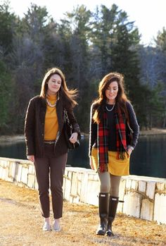 love this for fall. yellow cord skirt, hunter boots.