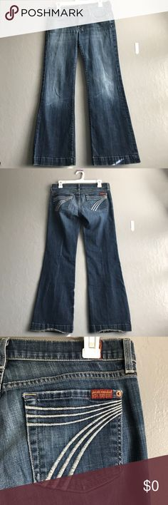 74AMK light Donos flared Jeans | sz 28 In good condition | no holes or stains, hems are frayed 7 For All Mankind Jeans Flare & Wide Leg