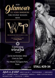 Asia's biggest wedding exhibitor and India's leading wedding fashion multi designer store are coming together at Asia's Biggest and Most Luxurious #WeddingExhibition in Pune.  #CelebratingVivahas upcoming wedding exhibition in Pune will see the latest collections from Wardrobe Treasures - India's leading multi brand wedding fashion store.  #WardrobeTreasures Display at Celebrating Vivaha's exhibition will showcase collections from big labels like Shruti Jalan, #Youensemble, Greenways.