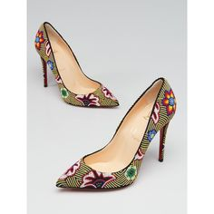 Pre-owned Christian Louboutin Multicolor Beaded Miss Taos 100 Pumps ($975) ❤ liked on Polyvore featuring shoes, pumps, multi-color pumps, colorful shoes, multi coloured shoes, red sole shoes and jeweled pumps