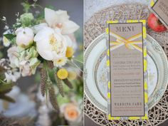 bright yellow and burlap wedding